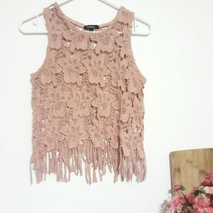 Dusty Rose Boho Fringe Lace Crop Top